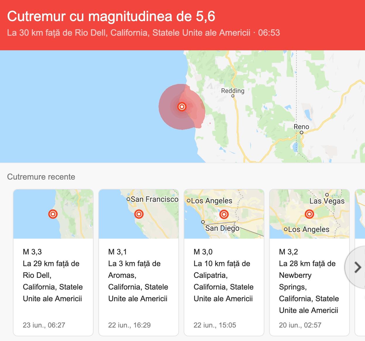 Cutremur de suprafaţă cu magnitudinea de 6,4 grade, produs în statul american California