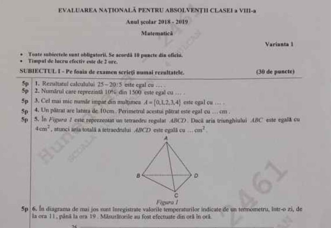 Evaluarea Națională 2019. Rezolvare subiecte matematică. Barem mate EDU.ro