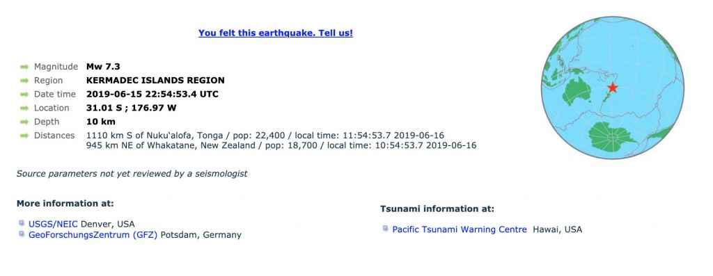 Tsunami Hawai Noua Zeelandă, 16 iunie ora locală a României 01:59