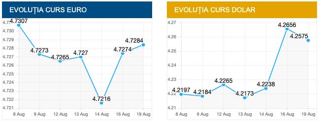 Curs valutar 19 august 2019. Dezastru la BNR! Euro crește în continuare