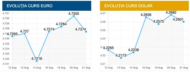 Evolutie euro si dolar. sursa foto cursbnr.ro