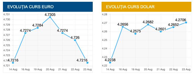 Evolutie euro si dolar 23 august 2019. sursa foto: cursbnr.ro