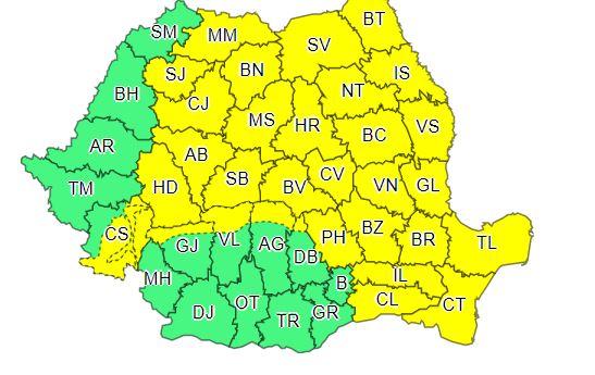 Județele vizate de codul galben de ploi sâmbătă, 3 august, în intervalul 09:00 – 21:00. Sursa foto: ANM