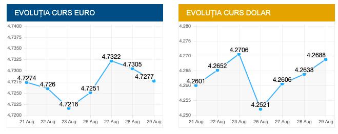 Evolutie euro si dolar. sursa foto: cursbnr.ro