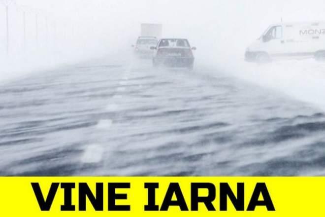 Vine iarna în România. ANM anunță ninsori, vânt și vreme rece începând de azi