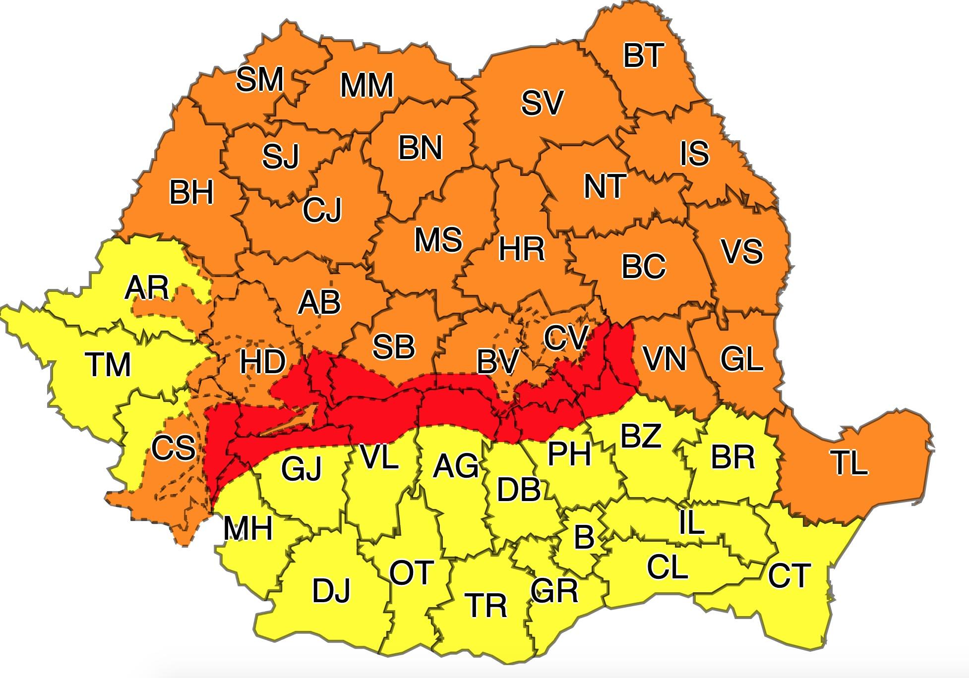 Cod roșu, cod portocaliu și cod galben de vreme rea vânt de peste 180km/h