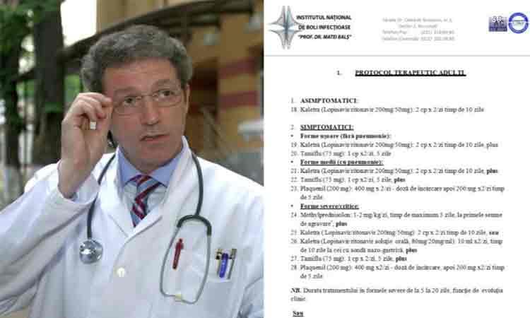 """Tratamentul pentru coronavirus, prescris de Streinu Cercel la """"Matei Bals"""""""
