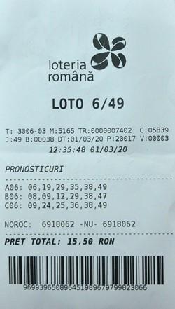 Loto 6/49 rezultatul câștigător
