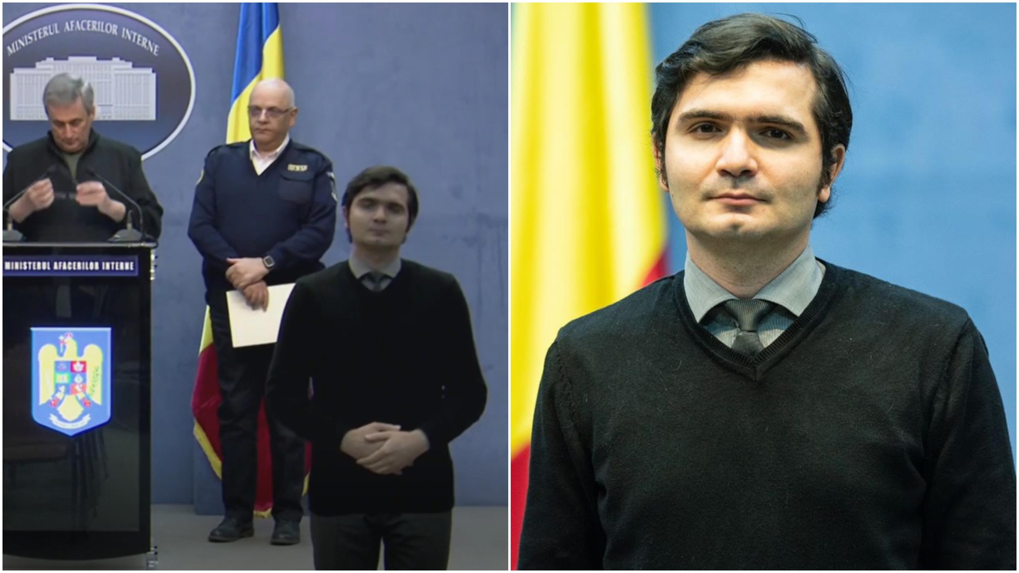 Cine Bogdan Anicescu, tânărul, care interpretează limbajul mimico-gestual în comunicările MAI