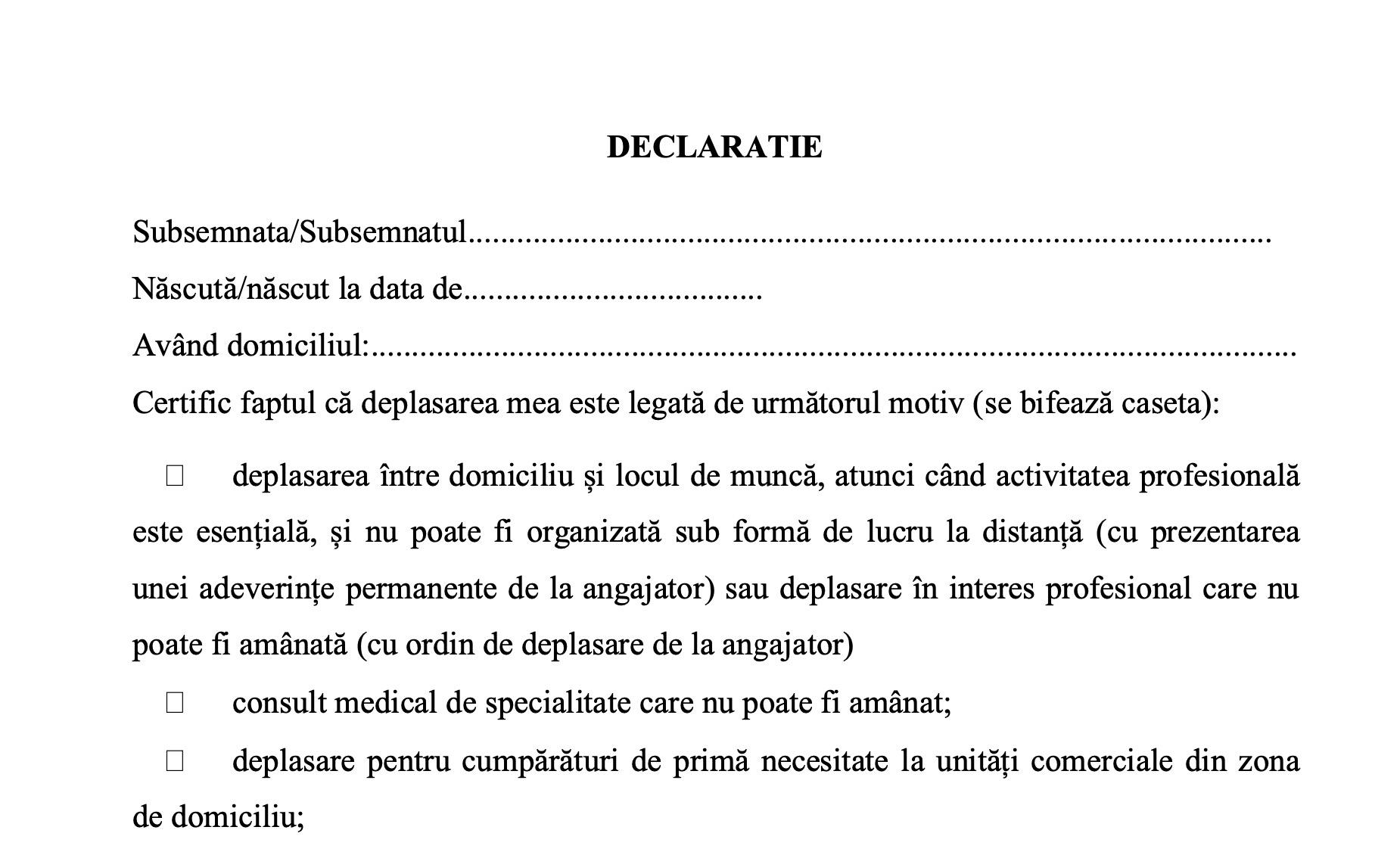 Model Declarație de Proprie Răspundere ieșire din casă poliție OFICIAL