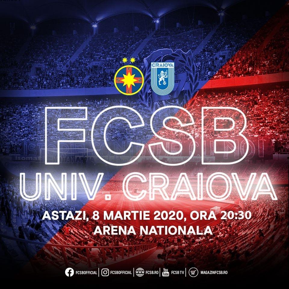 FCSB - Craiova SCOR 0-0 Vezi live stream meciul gratuit și live score