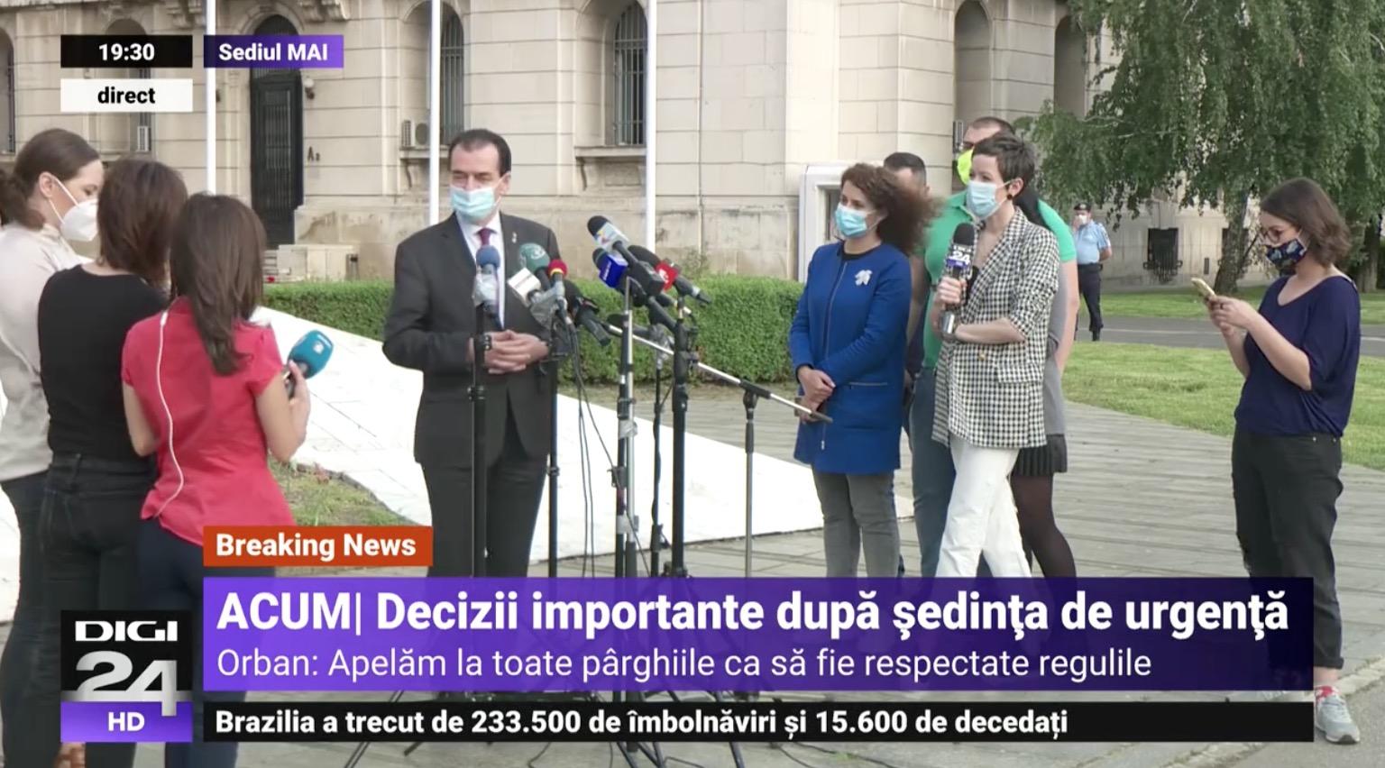 Ludovic Orban: Terasele și restaureantele nu se deschid. Starea de alertă prin legea 55