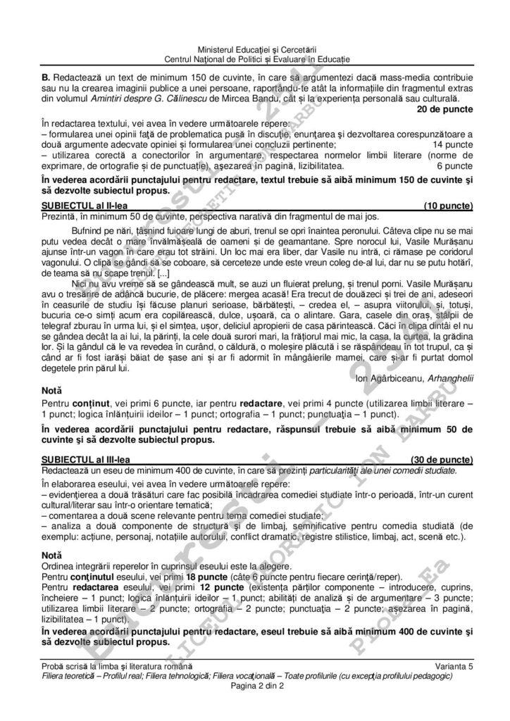 Subiecte BAC 2020 Romana profil real