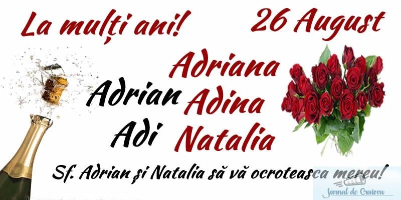 Mesaje si urari Sfantul Adrian si Sfanta Natalia 26 august