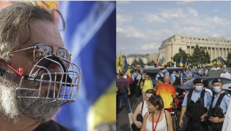 Protest împotriva purtării măștii de protecție în școli