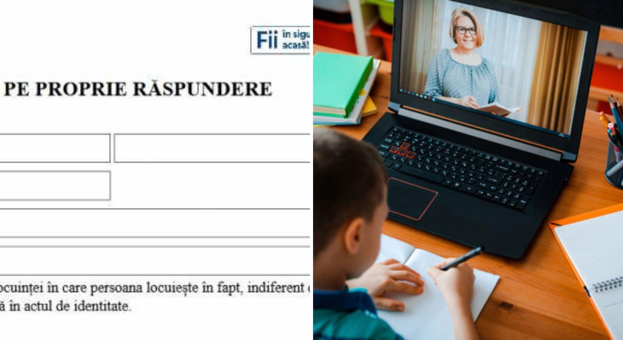 Declarații pe propria răspundere pentru școala online