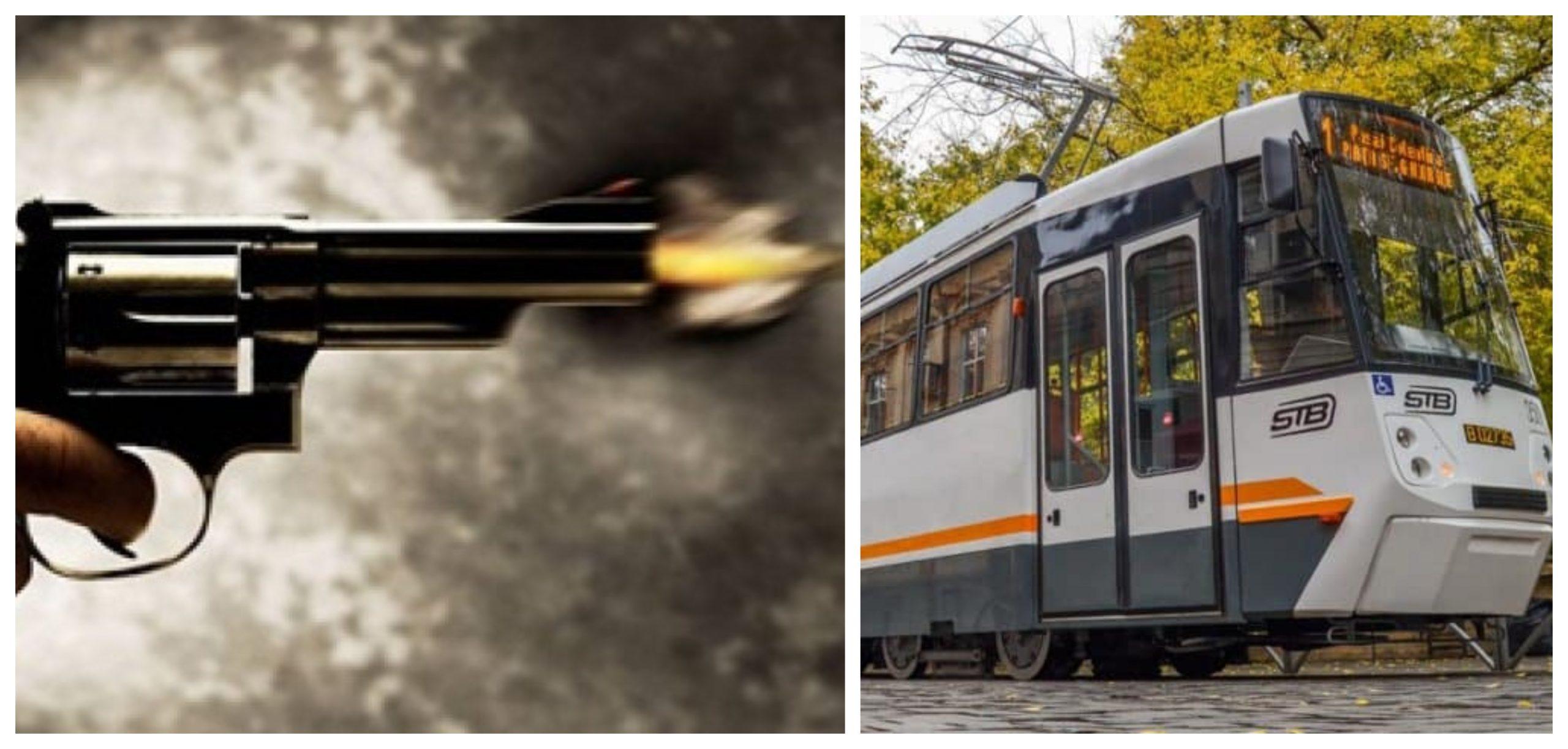 Focuri de armă în București. Un bărbat a tras într-un tramvai cu pasageri