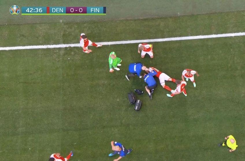 Euro 2020: Eriksen s-a prăbușit pe gazon, medicii îl resuscitează chiar acum LIVE UPDATE